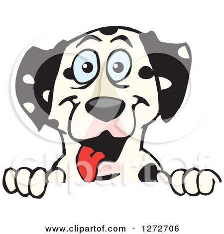 Clipart of a Happy Dalmatian Dog Peeking over a Sign - Royalty Free Vector Illustration by Dennis Holmes Designs