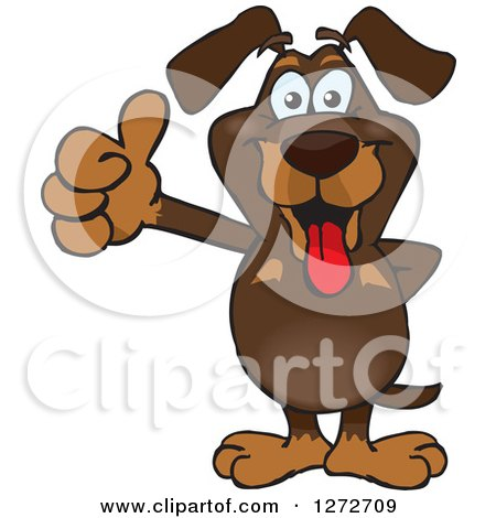 Clipart of a Happy Dachshund Dog Giving a Thumb up - Royalty Free Vector Illustration by Dennis Holmes Designs