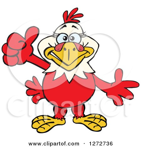 Clipart of a Happy Hen Giving a Thumb up - Royalty Free Vector Illustration by Dennis Holmes Designs