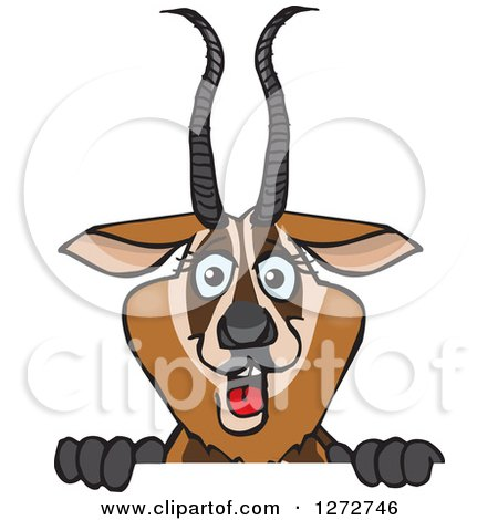 Clipart of a Happy Gazelle Peeking over a Sign - Royalty Free Vector Illustration by Dennis Holmes Designs