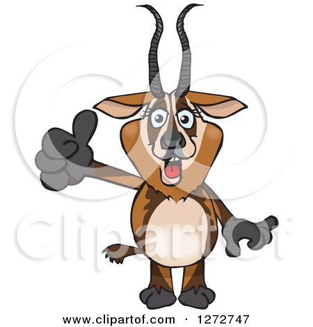 Clipart of a Happy Gazelle Giving a Thumb up - Royalty Free Vector Illustration by Dennis Holmes Designs