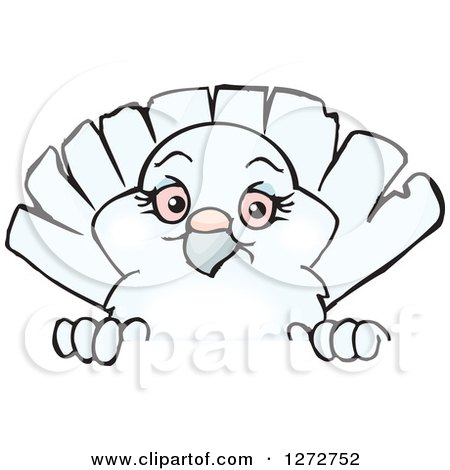 Clipart of a Happy White Dove Peeking over a Sign - Royalty Free Vector Illustration by Dennis Holmes Designs