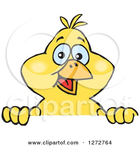 Clipart of a Happy Yellow Canary Bird Peeking over a Sign - Royalty Free Vector Illustration by Dennis Holmes Designs