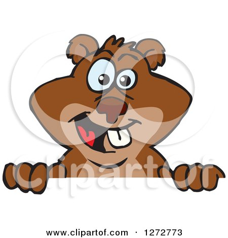Clipart of a Happy Beaver Peeking over a Sign - Royalty Free Vector Illustration by Dennis Holmes Designs