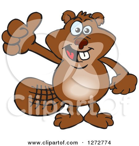 Clipart of a Happy Beaver Giving a Thumb up - Royalty Free Vector Illustration by Dennis Holmes Designs