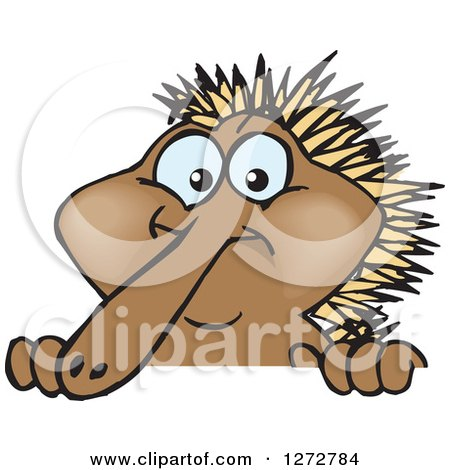 Clipart of a Happy Echidna Standing - Royalty Free Vector ...