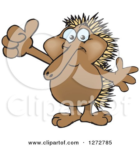 Clipart of a Happy Echidna Giving a Thumb up - Royalty Free Vector Illustration by Dennis Holmes Designs