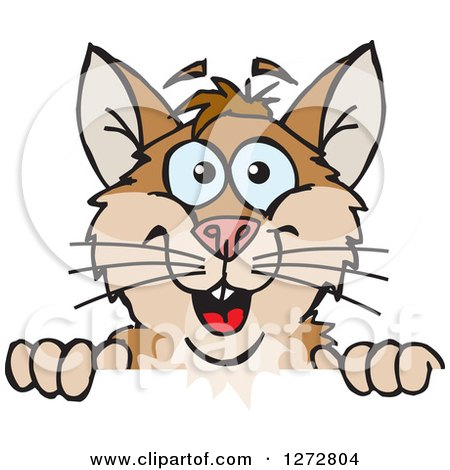 Clipart of a Happy Hamster Peeking over a Sign - Royalty Free Vector Illustration by Dennis Holmes Designs