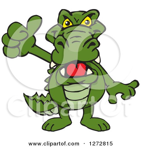 Clipart of an Alligator Giving a Thumb up - Royalty Free Vector Illustration by Dennis Holmes Designs