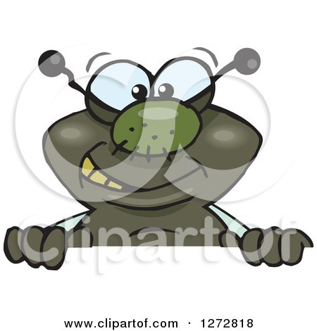 Clipart of a Happy House Fly Peeking over a Sign - Royalty Free Vector Illustration by Dennis Holmes Designs