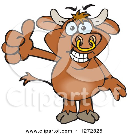 Clipart of a Happy Brown Bull Giving a Thumb up - Royalty Free Vector Illustration by Dennis Holmes Designs