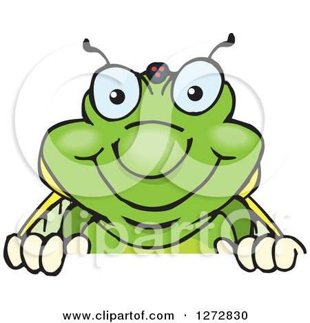 Clipart of a Happy Cicada Peeking over a Sign - Royalty Free Vector Illustration by Dennis Holmes Designs