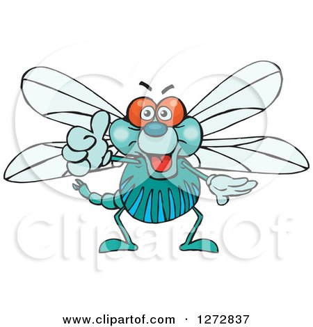 Clipart of a Happy Dragonfly Giving a Thumb up - Royalty Free Vector Illustration by Dennis Holmes Designs