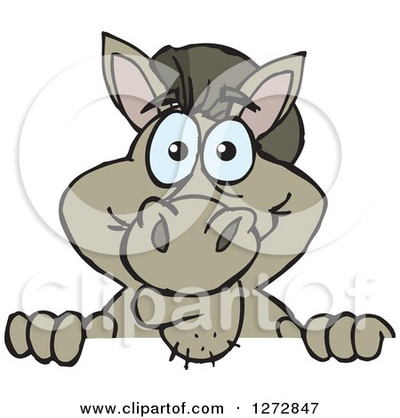 Clipart of a Happy Donkey Peeking over a Sign - Royalty Free Vector Illustration by Dennis Holmes Designs
