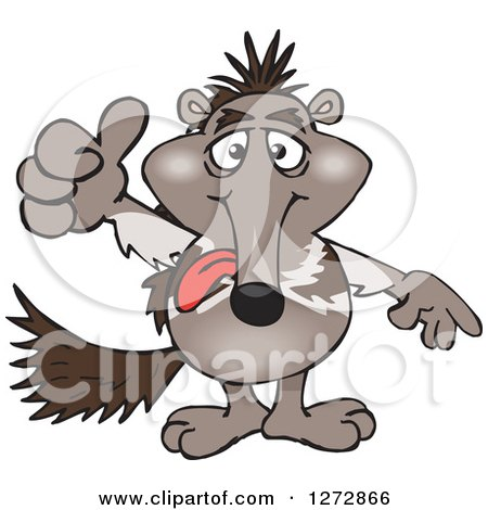 Clipart of an Anteater Holding a Thumb up - Royalty Free Vector Illustration by Dennis Holmes Designs