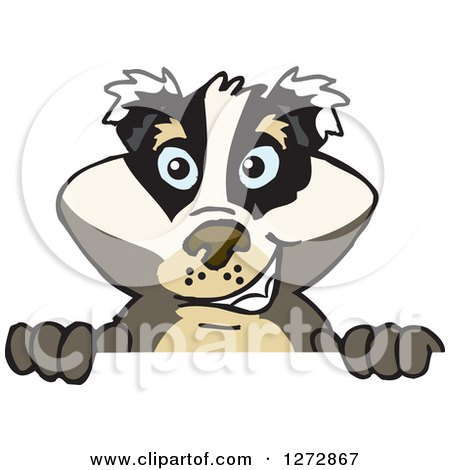 Clipart of a Happy Badger Peeking over a Sign - Royalty Free Vector Illustration by Dennis Holmes Designs