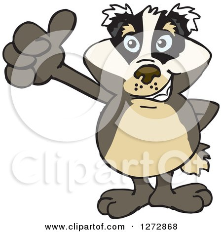Clipart of a Happy Badger Giving a Thumb up - Royalty Free Vector Illustration by Dennis Holmes Designs