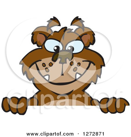 Clipart of a Happy Bear Peeking over a Sign - Royalty Free Vector Illustration by Dennis Holmes Designs