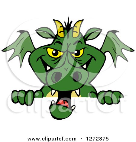 Clipart of a Green Dragon Peeking over a Sign - Royalty Free Vector Illustration by Dennis Holmes Designs