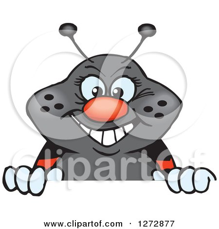 Clipart of a Happy Ladybug Peeking over a Sign - Royalty Free Vector Illustration by Dennis Holmes Designs