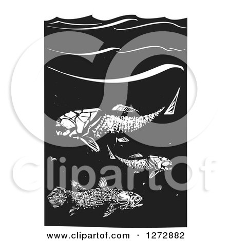 Clipart of Black and White Woodcut Prehistoric Dunkleosteus and Coelacanth Fish - Royalty Free Vector Illustration by xunantunich