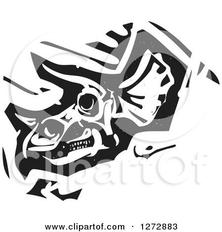 Clipart of a Black and White Woodcut Triceratops Skull - Royalty Free Vector Illustration by xunantunich