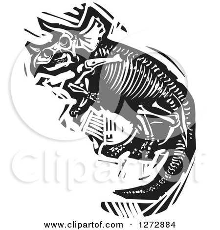 Clipart of a Black and White Woodcut Triceratops Skeleton - Royalty Free Vector Illustration by xunantunich