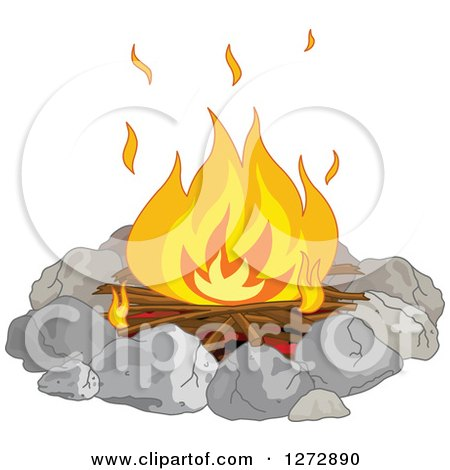 Clipart of a Campfire Burning in a Stone Ring - Royalty Free Vector Illustration by Pushkin