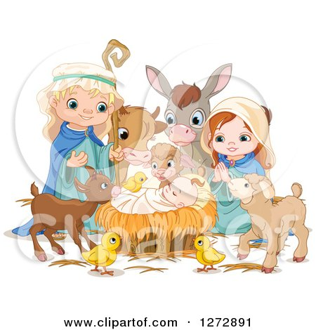 Clipart of a Nativity Scene of Baby Jesus, Joseph, Mary and Cute Animals with Magic Sparkles - Royalty Free Vector Illustration by Pushkin