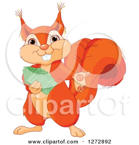 Clipart of a Cute Happy Squirrel Presenting and Holding Tickets - Royalty Free Vector Illustration by Pushkin