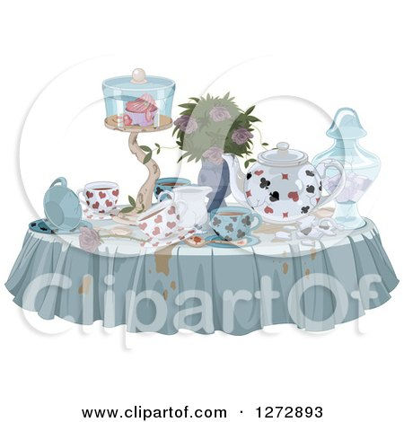 Clipart of a Messy Table with Spills Treats and Drinks for a Tea Party - Royalty Free Vector Illustration by Pushkin