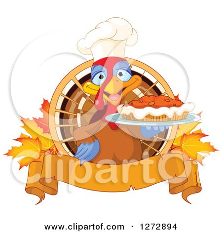 Clipart of a Cute Chef Turkey Bird Holding a Thanksgiving Pumpkin Pie with Autumn Leaves and a Blank Banner - Royalty Free Vector Illustration by Pushkin