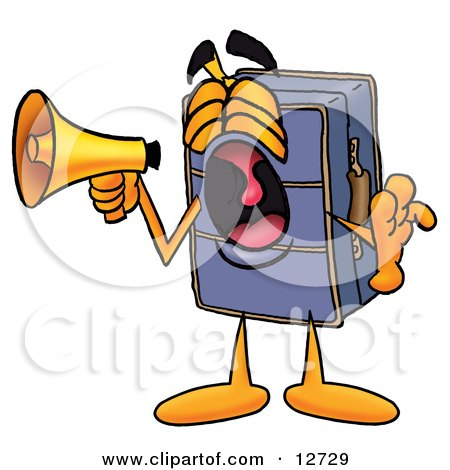 Clipart Picture of a Suitcase Cartoon Character Screaming Into a Megaphone by Toons4Biz