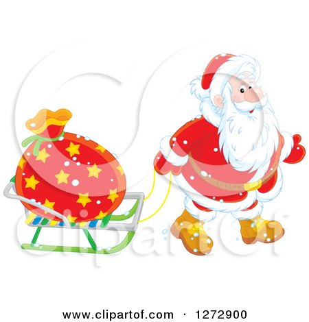 Clipart of Santa Pulling a Sack on a Sled on Christmas Eve - Royalty Free Vector Illustration by Alex Bannykh