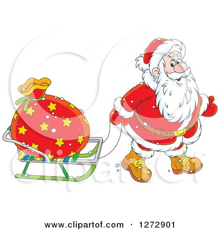 Clipart of Santa Claus Pulling a Sack on a Sled on Christmas Eve - Royalty Free Vector Illustration by Alex Bannykh