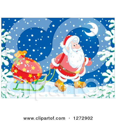 Clipart of Santa Claus Pulling a Sack on a Sled Through the Snow on Christmas Eve - Royalty Free Vector Illustration by Alex Bannykh
