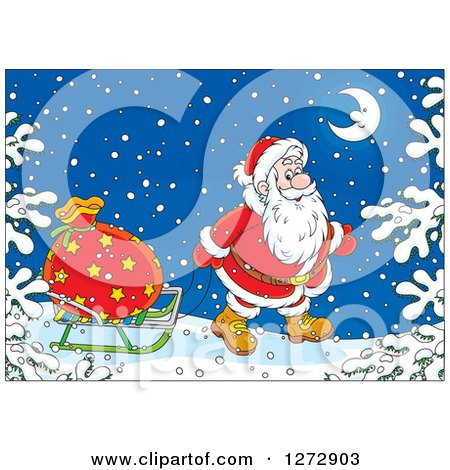 Clipart of Santa Pulling a Sack on a Sled Through the Snow on Christmas Eve - Royalty Free Vector Illustration by Alex Bannykh