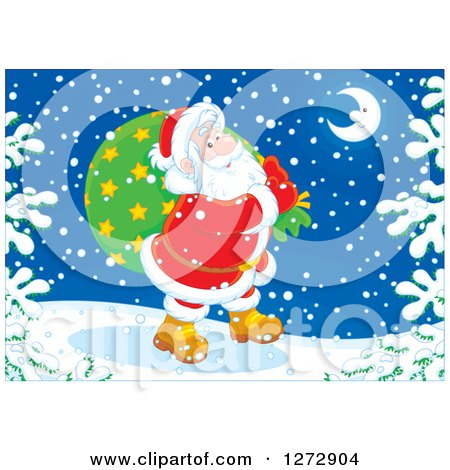 Clipart of Santa Claus Carrying a Sack Through the Snow on Christmas Eve - Royalty Free Vector Illustration by Alex Bannykh