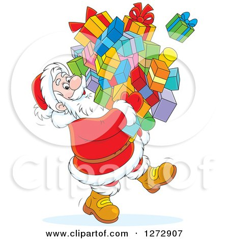 Clipart of a Santa Carrying a Huge Pile of Christmas Gifts - Royalty Free Vector Illustration by Alex Bannykh