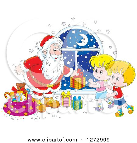 Clipart of a Santa Claus Giving Gifts to Children on Christmas Eve - Royalty Free Vector Illustration by Alex Bannykh