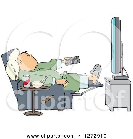 Clipart of a Relaxed White Man Sitting in a Chair with Food at His Side and Pointing a Remote at a Flat Screen TV - Royalty Free Vector Illustration by djart