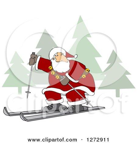 Clipart of Santa Skiing Through a Christmas Winter Landscape - Royalty Free Vector Illustration by djart