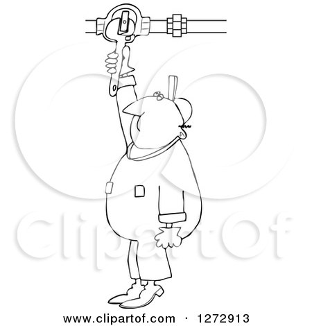 Clipart of a Black and White Worker Man Plumber Turning a Valve - Royalty Free Vector Illustration by djart