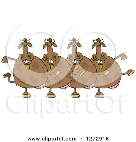 Clipart of a Chorus of Brown Cows Dancing the Can Can - Royalty Free Vector Illustration by djart