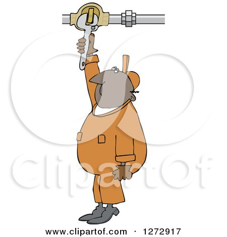 Clipart of a Black Worker Man Plumber Turning a Valve - Royalty Free Vector Illustration by djart