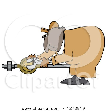 Clipart of a Black Worker Man Plumber Bending over and Turning a Valve - Royalty Free Vector Illustration by djart