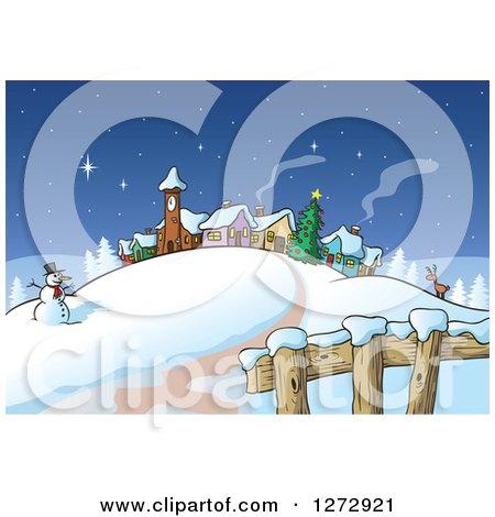 Clipart of a Road Leading to a Snowman Reindeer Christmas Tree and Winter Village at Night - Royalty Free Vector Illustration by Holger Bogen