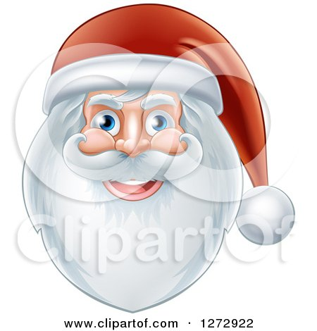 Clipart of a Jolly Christmas Santa Face with a Beard and Hat - Royalty Free Vector Illustration by AtStockIllustration
