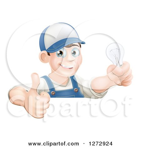 Clipart of a Happy Brunette White Male Electrician Giving a Thumb up and Holding a Light Bulb over a Sign - Royalty Free Vector Illustration by AtStockIllustration