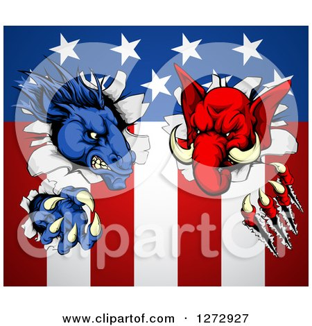 Clipart of a Political Democratic Donkey and Republican Elephant Tearing Through an American Flag - Royalty Free Vector Illustration by AtStockIllustration
